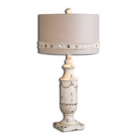 antique distressed lamp and button shade