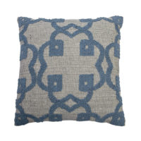 blue linen pillow with embroidery