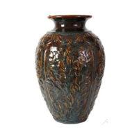 deep teal and amber floral jug