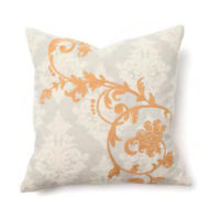 golden orange embroidered damask pillow