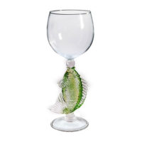 green fish wine glass