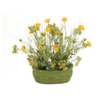 poppies and grass in green oval planter