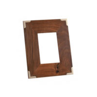 wood frame with silver corners